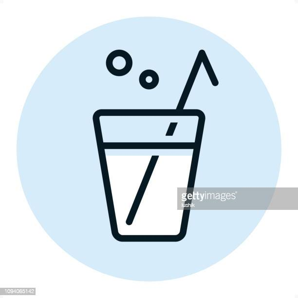 cocktail straw - pixel perfect single line icon - carbonated stock illustrations, clip art, cartoons, & icons