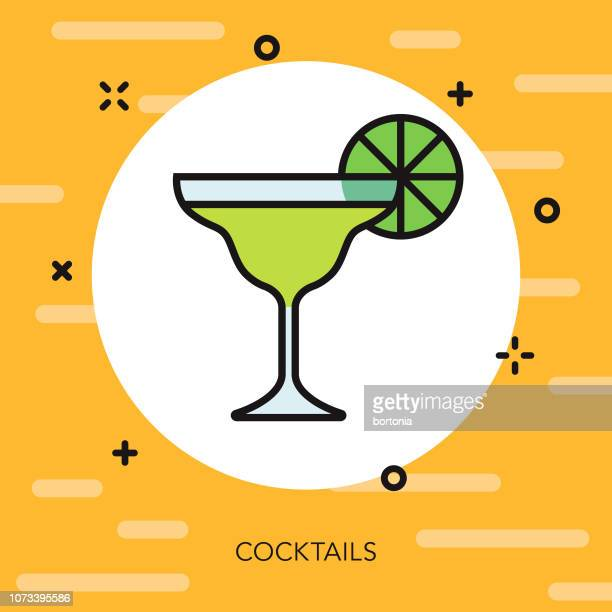 cocktail thin line vacation icon - margarita stock illustrations