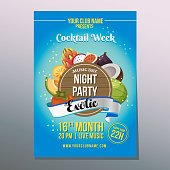 cocktail tropical party poster exotic fruit