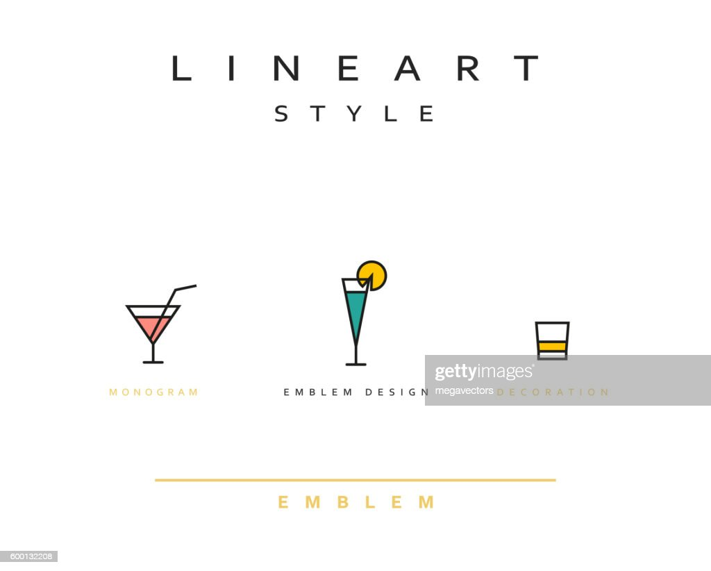 Cocktail wineglass vector icon style line art
