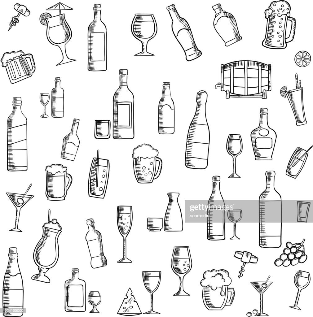 Cocktails and alcohol beverages with snacks icon