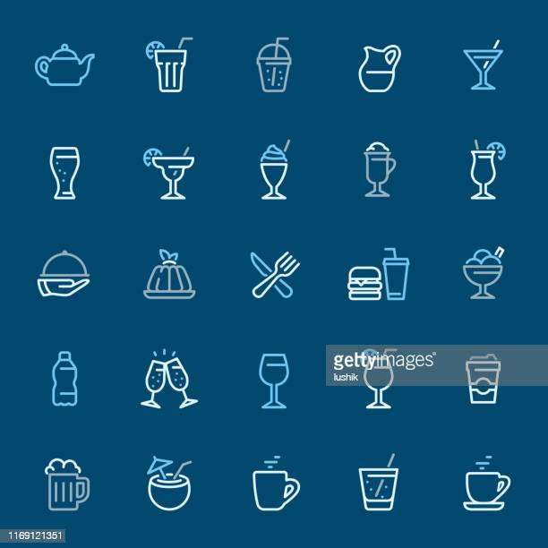 cocktails and drinks - color outline icons - panna cotta stock illustrations, clip art, cartoons, & icons