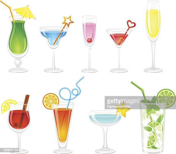 cocktails collection - mulled wine stock illustrations, clip art, cartoons, & icons