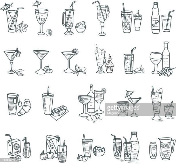 stockillustraties, clipart, cartoons en iconen met cocktails doodles - food and drink