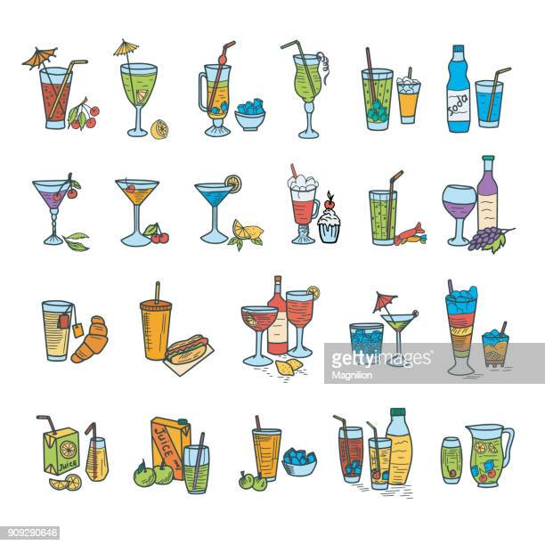 cocktails doodles - juice drink stock illustrations, clip art, cartoons, & icons