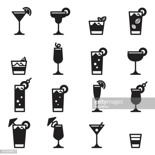 cocktails icons [black edition] - margarita stock illustrations