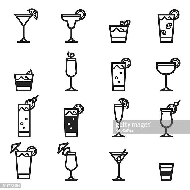 cocktails icons - drink stock illustrations