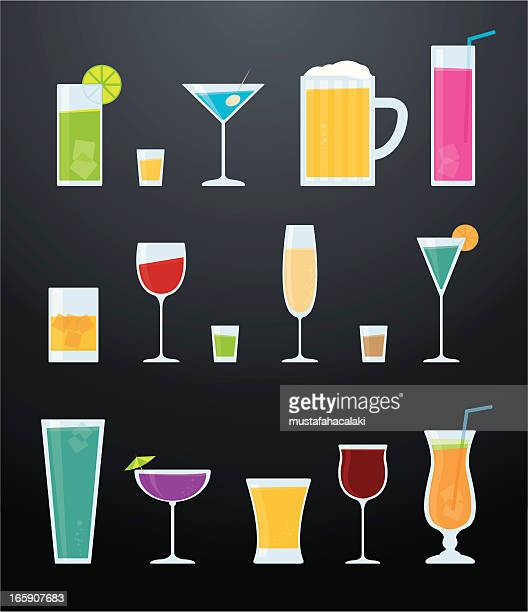 cocktails - shot glass stock illustrations, clip art, cartoons, & icons