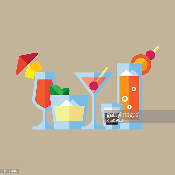 cocktails - mint julep stock illustrations