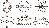 Cocoa and chocolate line icons set, labels and badges vector Illustration