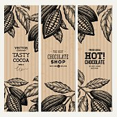 Cocoa bean tree banner collection. Design templates. Engraved style illustration.
