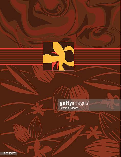 cocoa pod, flower, and swirling chocolate - milk chocolate stock illustrations, clip art, cartoons, & icons