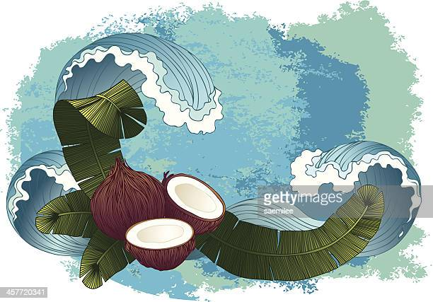 coconut background - coconut palm tree stock illustrations, clip art, cartoons, & icons