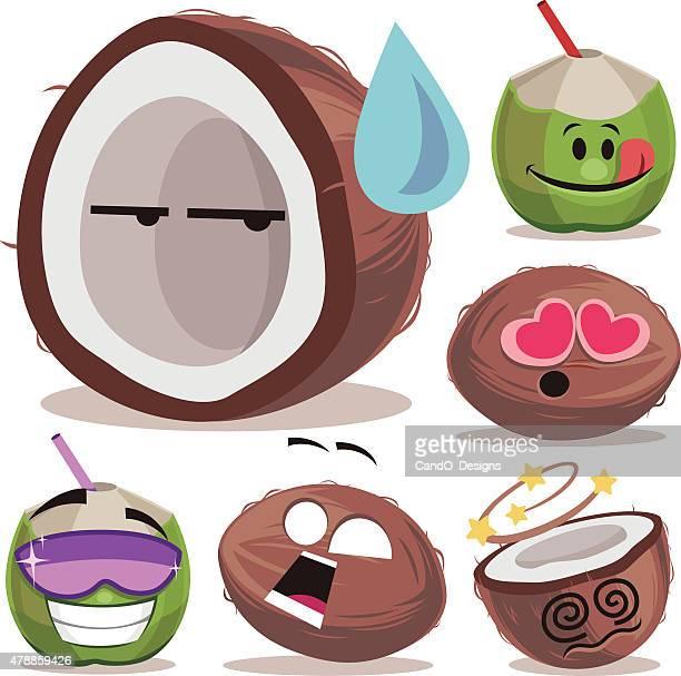 coconut cartoon set a - coconut milk stock illustrations, clip art, cartoons, & icons