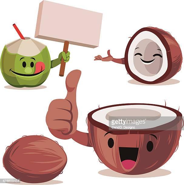 ilustrações, clipart, desenhos animados e ícones de coco conjunto de desenhos c - cocos plant