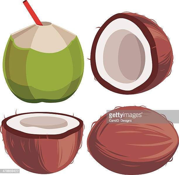coconut cartoon - coconut milk stock illustrations, clip art, cartoons, & icons