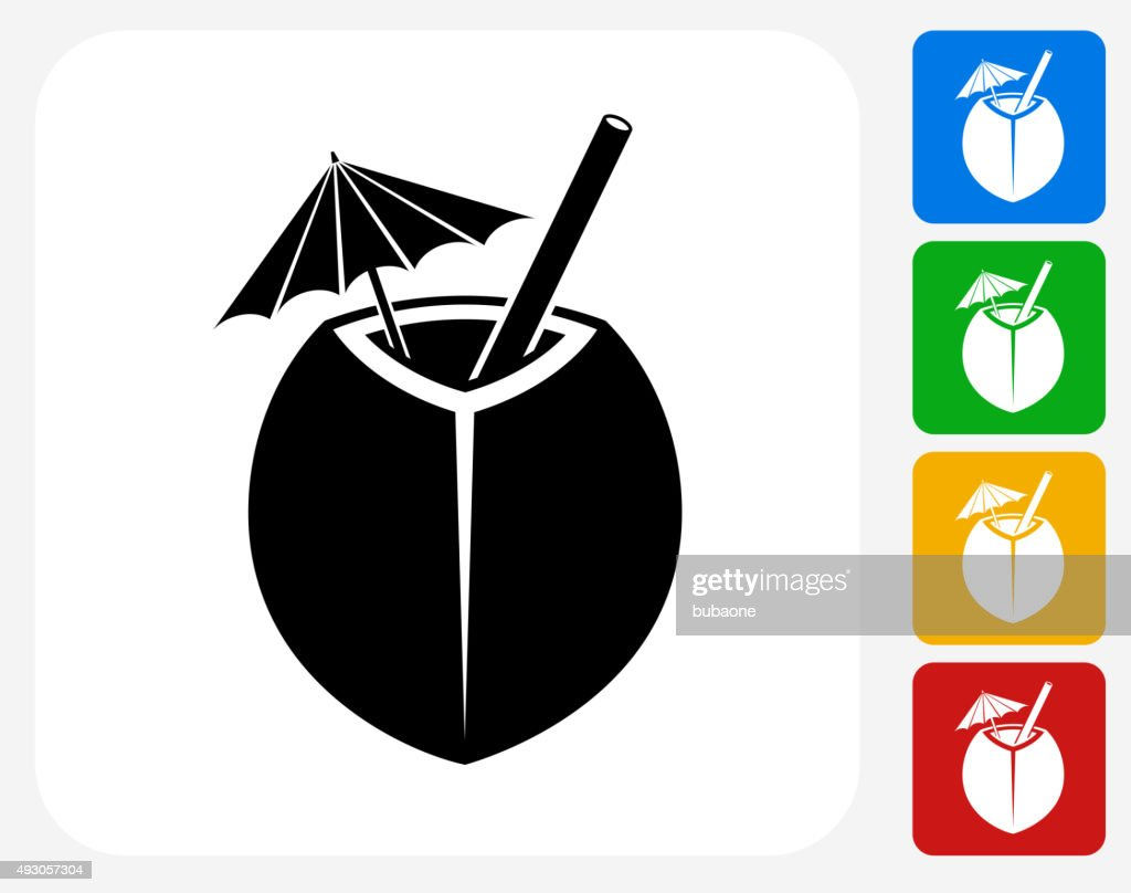 Coconut Cocktail Icon Flat Graphic Design
