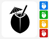 Coconut Cocktail Icon Flat Graphic Design