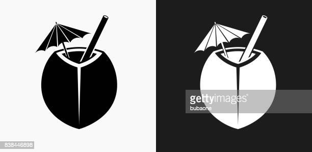 coconut cocktail icon on black and white vector backgrounds - coconut stock illustrations, clip art, cartoons, & icons