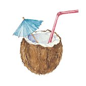 Coconut cocktail  isolated on a white background.Vector, watercolor   illustration.
