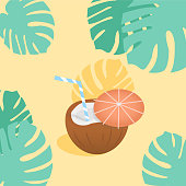 Coconut cocktail with small umbrella, hibiscus flowers and palm leaves banner. Place for your text. Invitation, banner, card, poster, flyer. Summer vibes