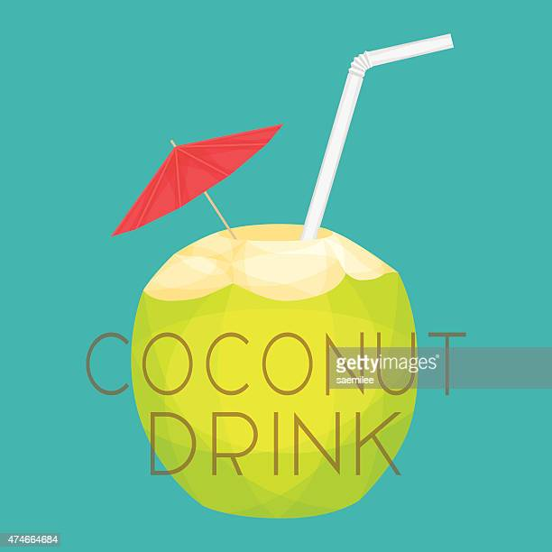 coconut drink - coconut milk stock illustrations, clip art, cartoons, & icons