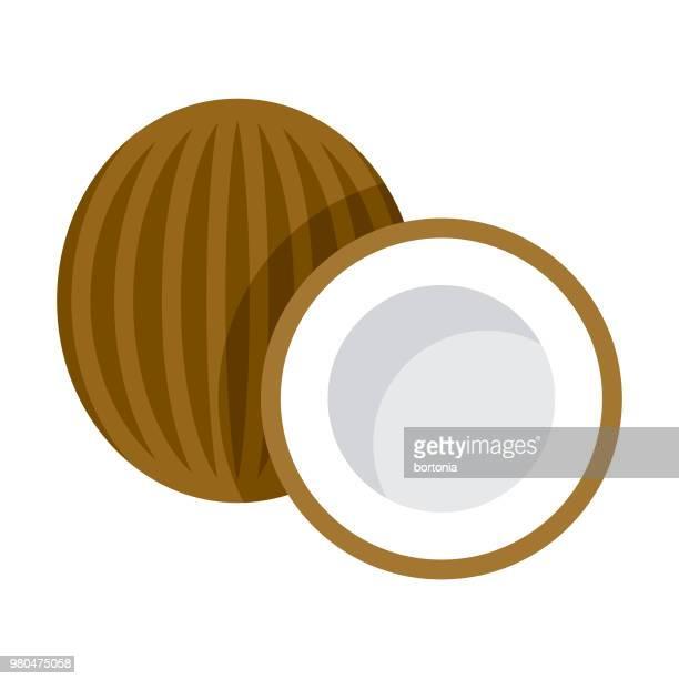 coconut flat design fruit icon - coconut stock illustrations, clip art, cartoons, & icons