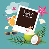 Coconut Fruit and Summer Objects with Instant Film Frame Background