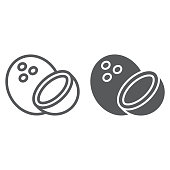 Coconut line and glyph icon, fruit and coco, tropical sign, vector graphics, a linear pattern on a white background, eps 10.