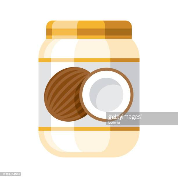 coconut oil icon on transparent background - coconut oil stock illustrations