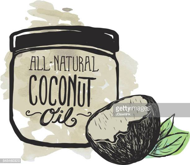 Coconut Oil label and jar on watercolor background