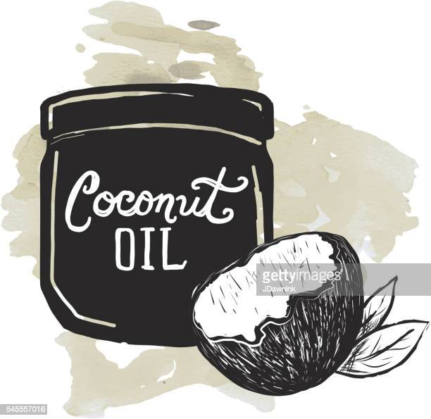 Coconut Oil label and jar on watercolor texture background