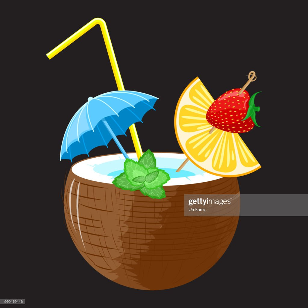 coconut Pina colada cocktail with strawberry and orange canape decorated with mint leaves, with umbrella and straw on a black background. Vector.