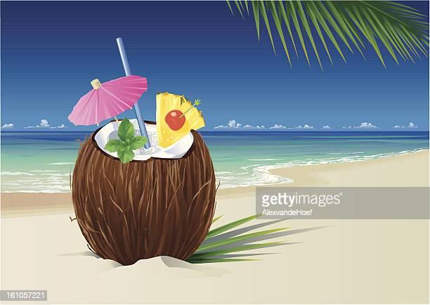 coconut pina colada on the beach - coconut milk stock illustrations, clip art, cartoons, & icons