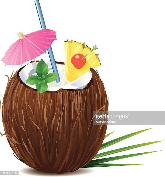 coconut pina colada - coconut stock illustrations, clip art, cartoons, & icons