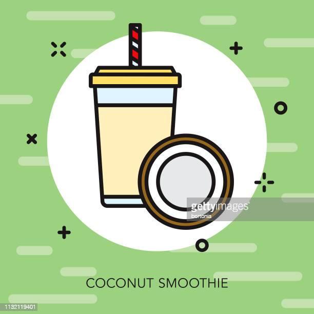 coconut smoothie icon - coconut milk stock illustrations, clip art, cartoons, & icons
