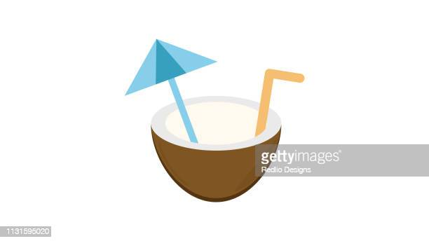 coconut water drink beach side icon - coconut milk stock illustrations, clip art, cartoons, & icons