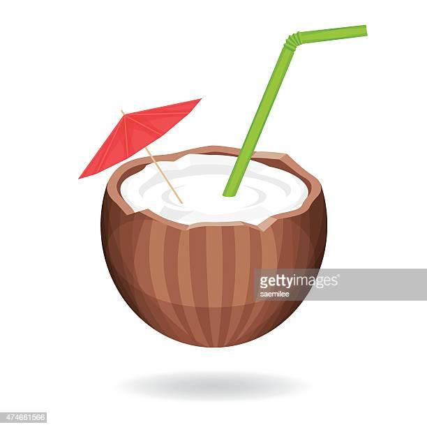coconut water - coconut milk stock illustrations, clip art, cartoons, & icons