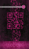 QR code abstract grunge background