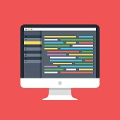 Code editor on computer screen. Desktop PC with code editor software GUI. Coding, programming, web development concepts. Modern flat design vector illustration