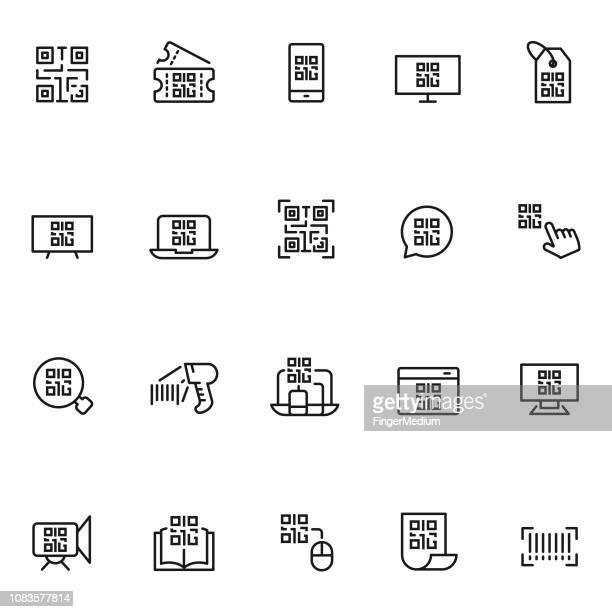 illustrations, cliparts, dessins animés et icônes de jeu d'icônes de qr code - code barre