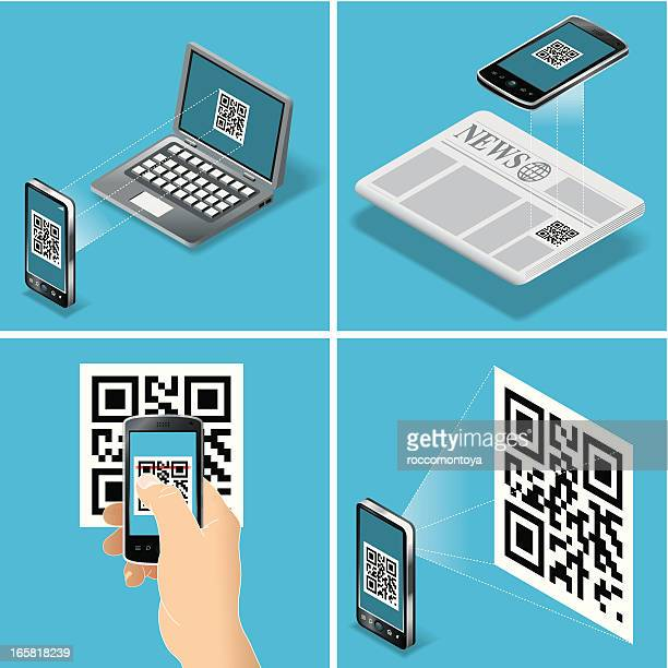qr code scan - bar code reader stock illustrations, clip art, cartoons, & icons