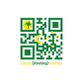 QR code set the color of Cocos (Keeling) Islands flag. Green with a palm tree on a gold disc, a gold crescent in the centre and a gold southern cross in the fly.