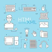HTML coder icons set