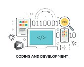 Coding and Development Concept with icons