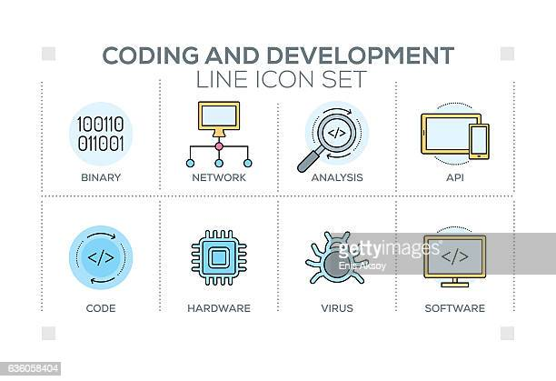 Coding and Development keywords with line icons