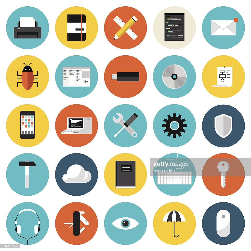 Coding and programming flat icons set