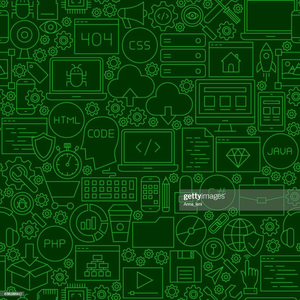 Coding Green Line Seamless Pattern
