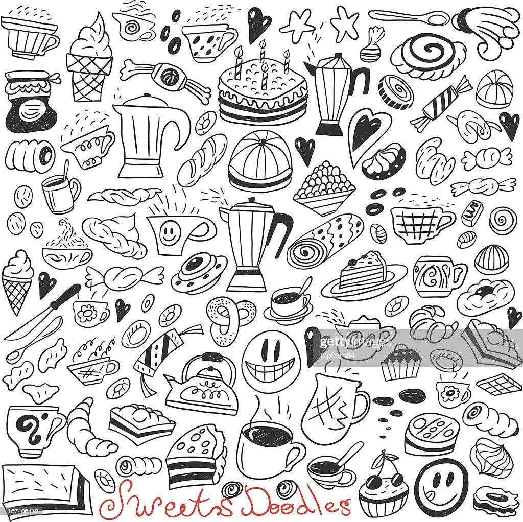 Coffe and sweets - doodles collection : Vector Art