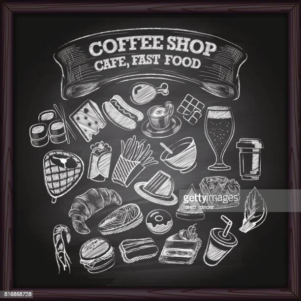 coffe cafe and fast food icons on chalkboard - chalk art equipment stock illustrations, clip art, cartoons, & icons